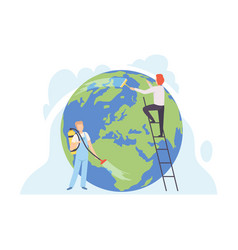 people cleaning earth planet with cleaning vector image