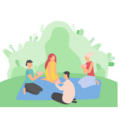 People relaxing in park friends playing cards vector
