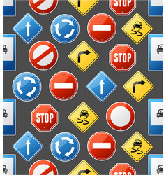 Realistic detailed 3d road sign seamless pattern vector