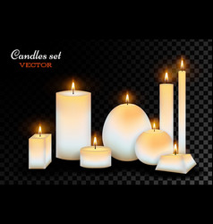 Realistic wax candles set vector
