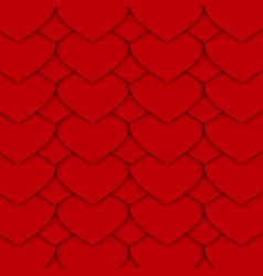 Red paper hearts pattern vector