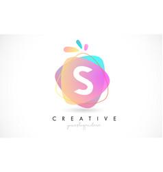 s letter logo design with vibrant colorful splash vector image