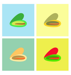 Scallop sea shell sketch style set vector
