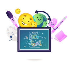 School items cartoon characters with cute smiling vector