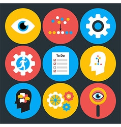 Search analyze and do flat circle icons vector image