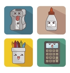 set character supplies school icon vector image