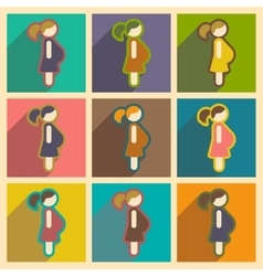 Set flat icons with long shadow pregnant Girl vector