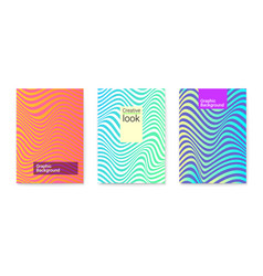 set layouts with wavy lines twisted vector image