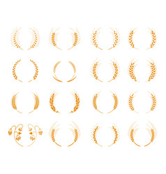 Set of silhouette circular laurel foliate and vector