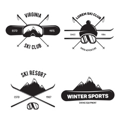Set of Ski Club Vintage Mountain winter badges vector