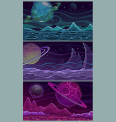 set three colorful space landscapes vector image