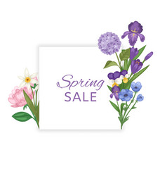 spring sale banner with flowers and season vector image