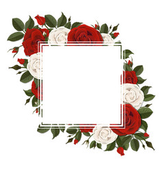 Square greeting card on red and pink rose flowers vector