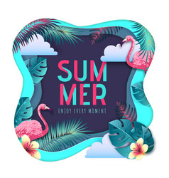 Summer party typography poster with flamingo vector