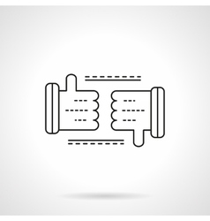 Thumb up and Thumb down line flat line icon vector image