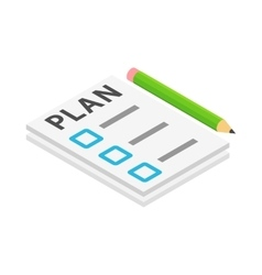 To do list and pencil icon isometric 3d style vector image