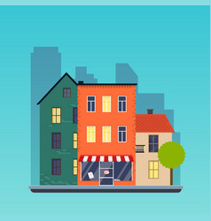 town houses urban landscape city flat design vector image