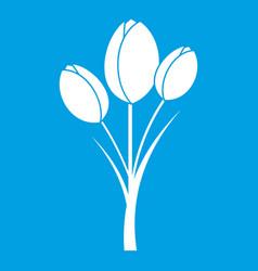 Tulips icon white vector