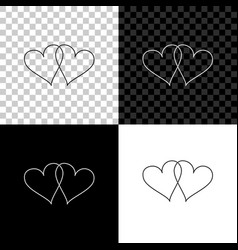 two linked hearts icon isolated on black white vector image