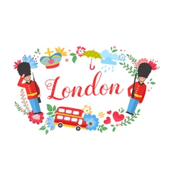 Uk great britain floral wreath postcard vector