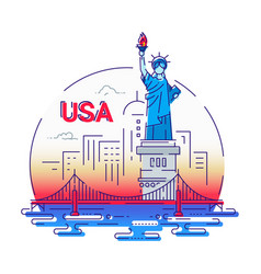 Usa - modern line travel vector