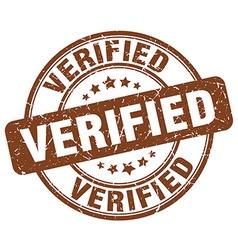 verified brown grunge round vintage rubber stamp vector image