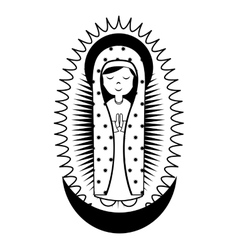Virgin mary cute icon vector