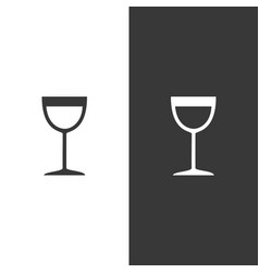 wine glass icon on black and white background vector image