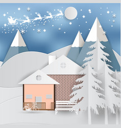 winter holiday whit home and santa claus vector image