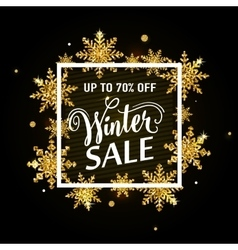 Winter sale gold poster vector