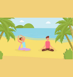 yoga exercises flat man and vector image