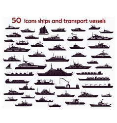 50 icons ships vector image vector image