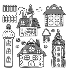 hand draw ornate decorative house drawing set vector image