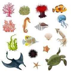 Sea life cartoon icons set vector