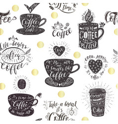 seamless pattern with coffee quotes vector image vector image