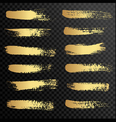 set of gold paint ink brush strokes brushes vector image