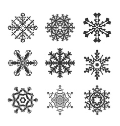 Snowflakes icon set collection shapes vector image