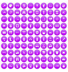 100 rafting icons set purple vector