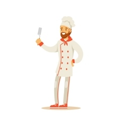 Bearded Man Professional Cooking Chef Working In vector image vector image