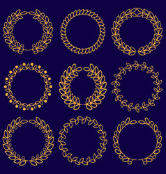 set of floral monochrome round wreaths vector image
