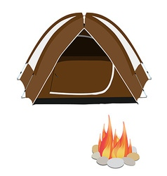 Camping tent and campfire vector image vector image