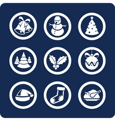 christmas and new year icons vector image vector image