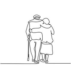 happy elderly couple hugging and walking vector image