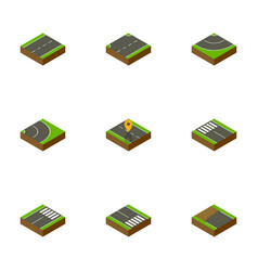 Isometric road set of road footer strip and vector