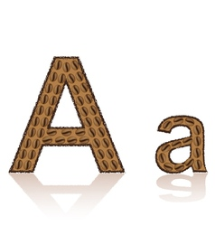 letter a is made grains of coffee isolated on whit vector image