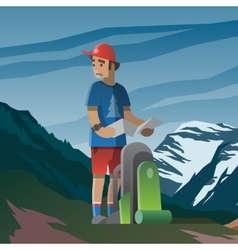 Man with map and backpack lost in the mountains vector image