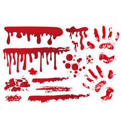 set realistic bloody streaks handprint in the vector image