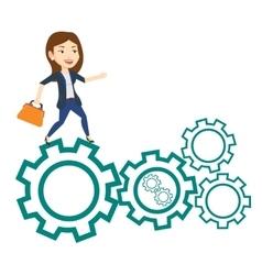 Business woman running on cogwheels vector image