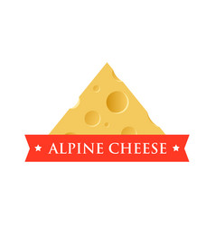 Emblem with piece of cheese with holes vector