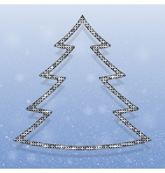 Falling snow silver sequins christmas tree vector